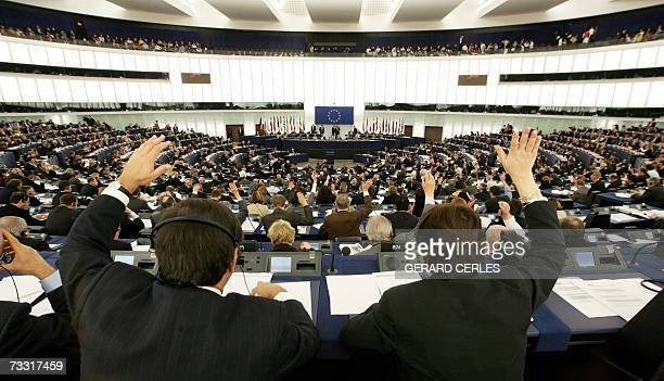 European deputies vote as the final report of the Temporary Committee on alleged illegal CIA activities in Europe is debated by the plenary session...