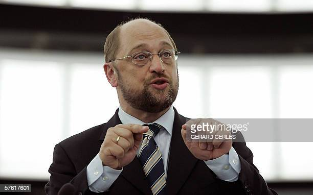 European Parliament socialist leader German, Martin Schulz speaks 15 may 2006 during the Plenary session of the European Parliament in Strasbourg...