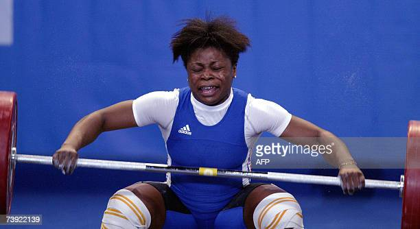 France's Madeleine Yamechi competes during the 69kg class of the Weightlifting European Championship 19 April 2007 in Strasbourg eastern France AFP...