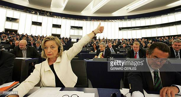 French European deputy Francoise Grossetete gestures 15 November 2006 at the European Parliament in the northeastern French city of Strasbourg during...