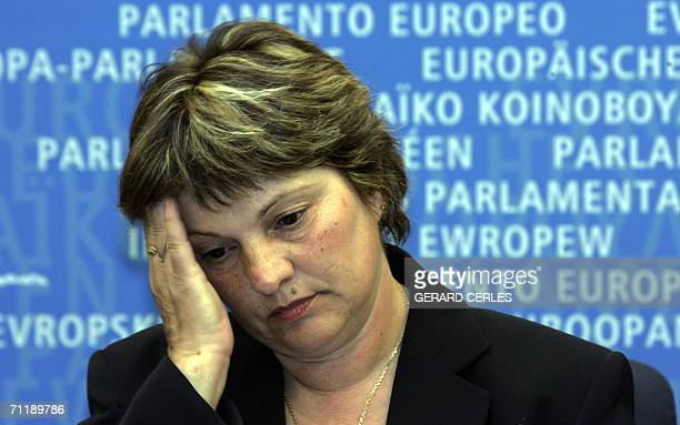 Marie Humbert who helped her paralized and blind son Vincent to die in 2003 gives a press 13 June 2006 during the Plenary session of the European...
