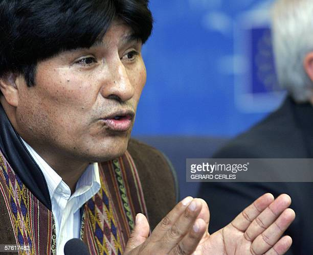 President of Bolivia Evo Morales gives a press conference at the European Parliament in Strasbourg 15 May 2006 during the Plenary session of the...