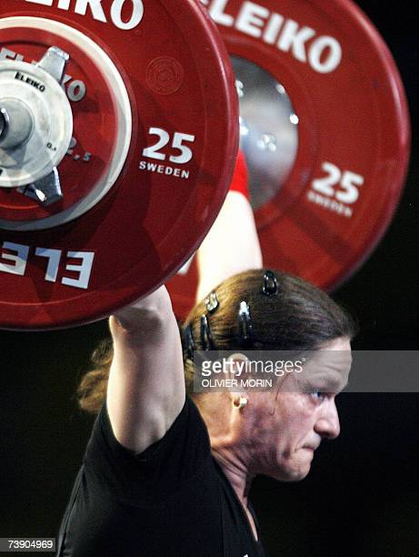 Romanian Marioara Munteanu competes during the 53kg class of the Weightlifting European Championship 17 April 2007 in Strasbourg eastern France AFP...