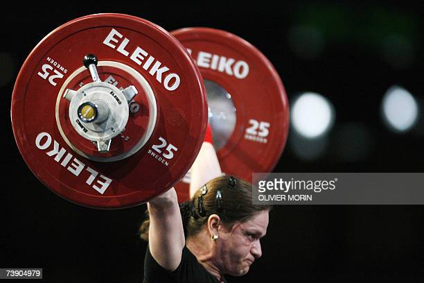 Romanian Marioara Munteanu competes during the 53kg class of the Weightlifting European Championship 17 April 2007 in Strasbourg eastern France...