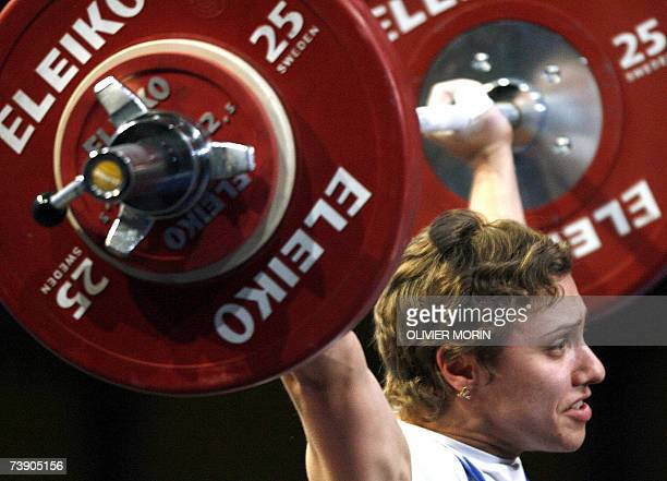 Ukrainian Natalya Trotsenko competes during 53 kg class of the European Championship of Weightlifting 17 April 2007 in Strasbourg eastern France...