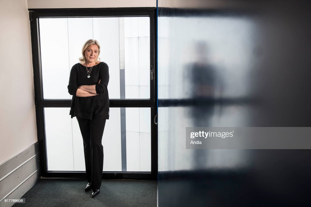 Strasbourg (north-eastern France) on : portrait of Marine Le Pen at the European Parliament. Marine Le Pen in a corridor of the Parliament.