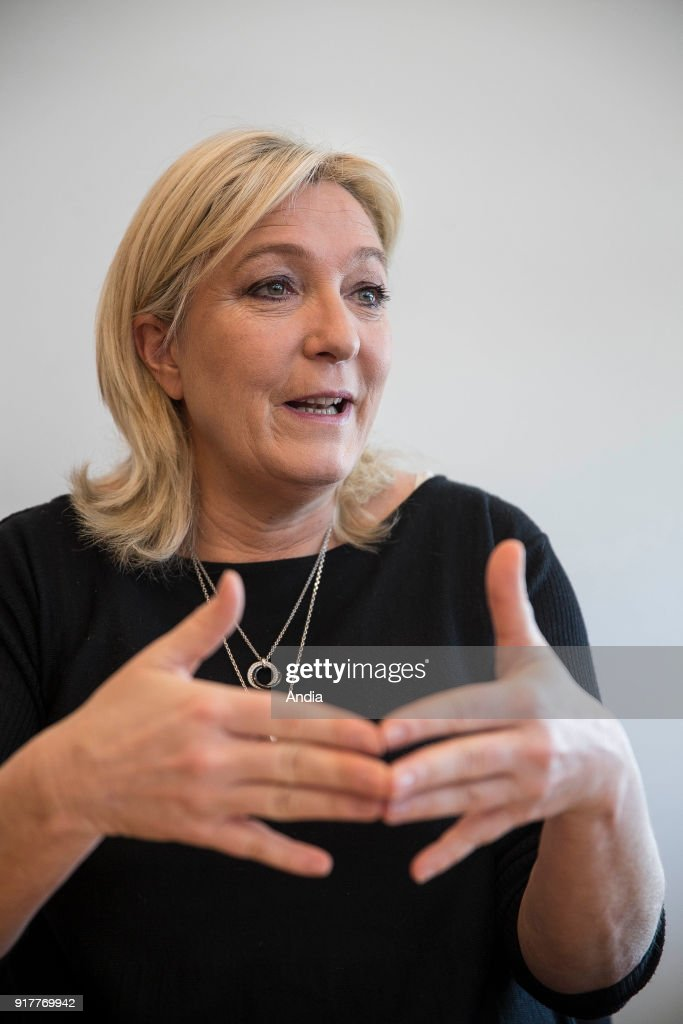 Strasbourg (north-eastern France) on : portrait of Marine Le Pen at the European Parliament. Marine Le Pen in her office at the Parliament.