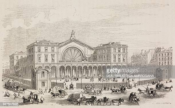 Strasbourg Railway Station engraving by Guillaumot based on a drawing by Fichot from ParisGuide by leading writers and artists of France Volume 2...