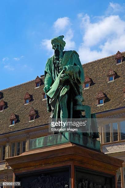 Strasbourg Statue of Gutenberg Gutenberg square UNESCO world heritage site Place Gutenberg Alsace Bas Rhin France Europe