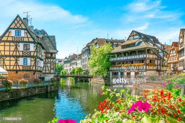 strasbourg traditional half-timbered houses in la petite france - strasbourg stock pictures, royalty-free photos & images