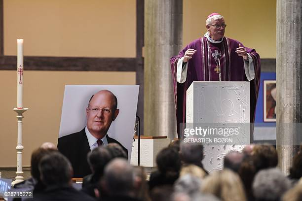Strasbourg's archbishop JeanPierre Grallet delivers his homily during a funeral ceremony for French public national television broadcaster France...