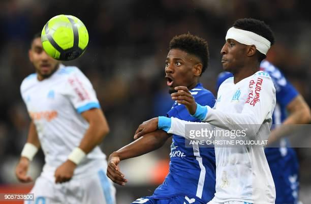Strasbourg's Cape Verdian forward Nuno Da Costa vies with Olympique de Marseille's French forward Bouna Sarr on January 16 2018 at the Velodrome...