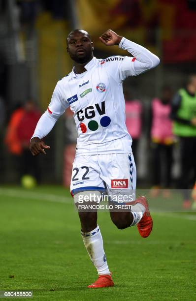 Strasbourg's French defender Ernest Sekar celebrates after scoring a goal during the French Ligue 2 football match between Lens and Strasbourg on May...