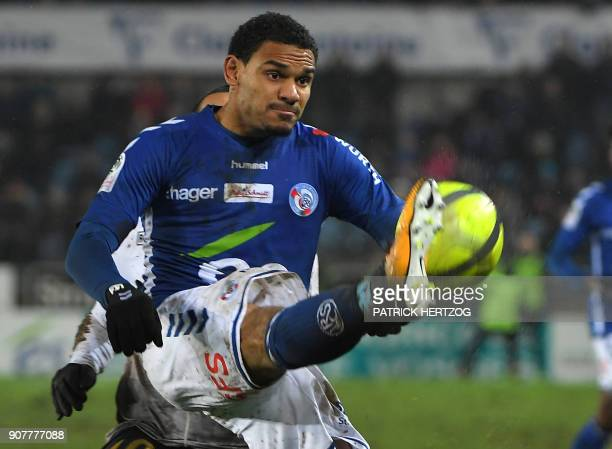 Strasbourg's French defender Kenny Lala controls the ball during the French Ligue 1 football match between Strasbourg and Dijon on January 20 2018 at...