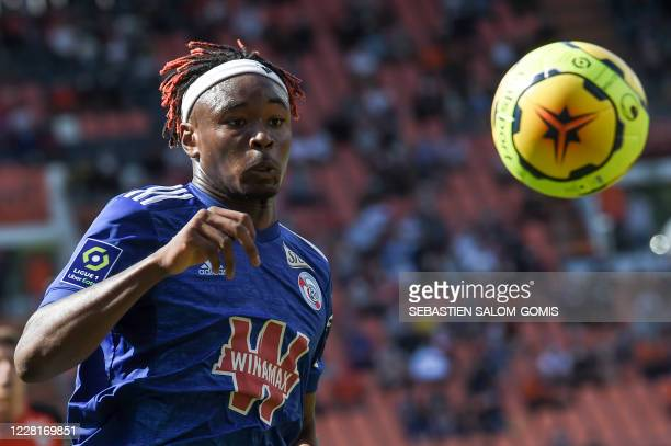 Strasbourg's French defender Mohamed Simakan controls the ball during L1 football match between Lorient and Strasbourg at at Le Moustoir Stadium in...