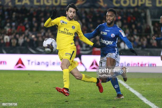 Strasbourg's French defender Yoann Salmier vies with Paris SaintGermain's Javier PASTORE during the french League Cup match Round of 16 between...