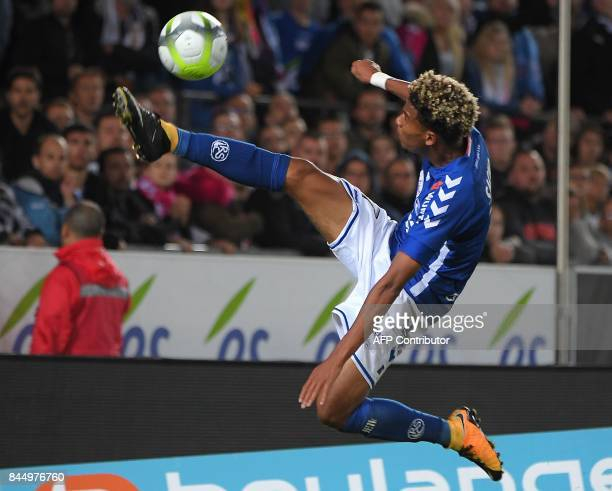 Strasbourg's French forward Ihsan Sacko controls the ball during the French L1 football match between Strasbourg and Amiens on September 9 at the...