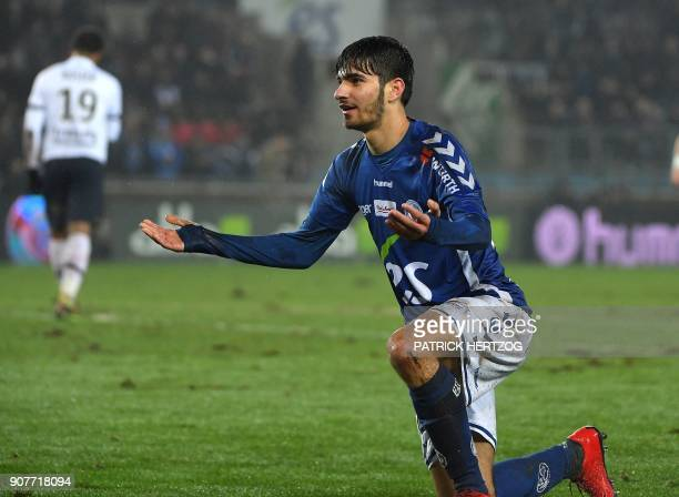 Strasbourg's French forward Martin Terrier reacts during the French Ligue 1 football match between Strasbourg and Dijon on January 20 2018 at the...