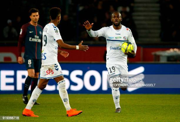 Strasbourg's French forward Stephane Bahoken celebrates after scoring during the French Ligue 1 football match between Paris SaintGermain and...