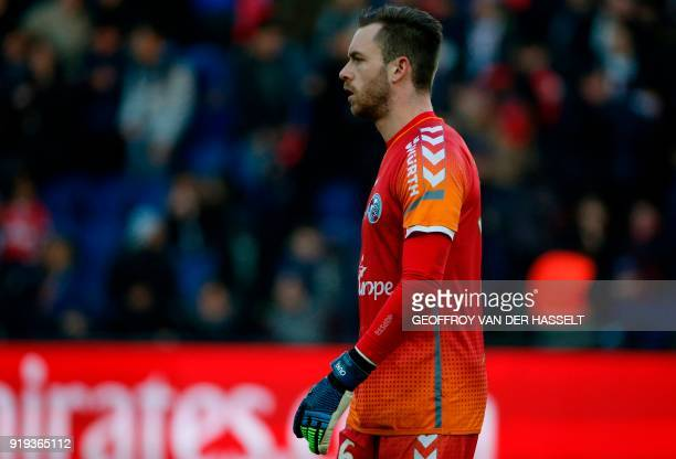 Strasbourg's French goalkeeper Alexandre Oukidja looks on during the French Ligue 1 football match between Paris SaintGermain and Strasbourg at The...