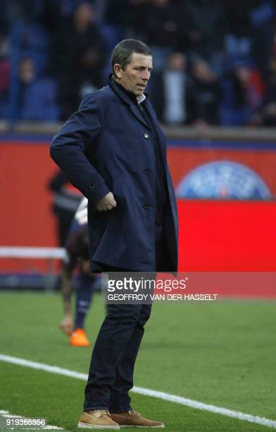 Strasbourg's French head coach Thierry Laurey looks on from the touchlines during the French Ligue 1 football match between Paris SaintGermain and...