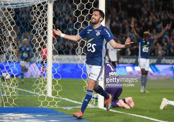 Strasbourg's French midfielder Benjamin Corgnet celebrates after scoring a goal during the French L1 football match between Strasbourg and Amiens on...