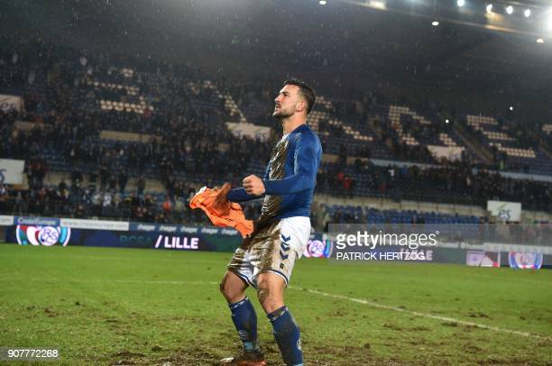 Strasbourg's French midfielder Pablo Martinez celebrates at the end of the French Ligue 1 football match between Strasbourg and Dijon on January 20...