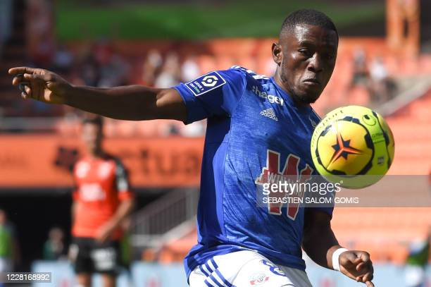 Strasbourg's Ghanaian forward Majeed Waris controls the ball during the L1 football match between Lorient and Strasbourg at at Le Moustoir Stadium in...