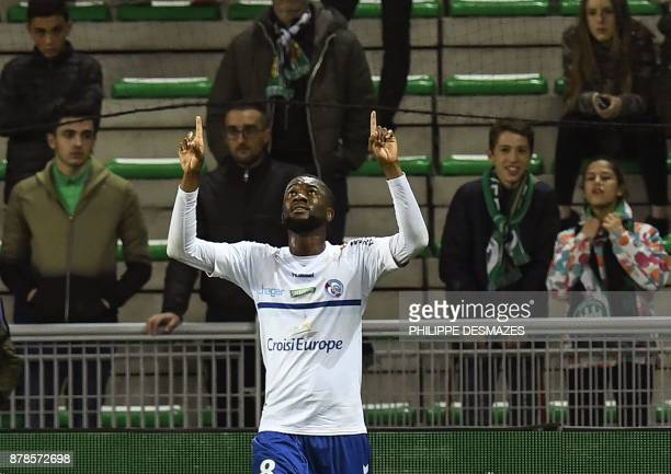 Strasbourg's Ivorian defender JeanEudes Aholou reacts after scoring uring the French L1 football match between AS SaintEtienne and RC Strasbourg at...