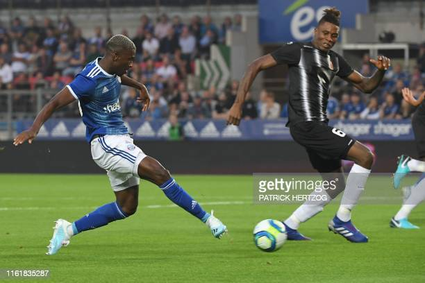 Strasbourg's Ivorian forward Kevin Zohi scores a goal past Plovdiv's Mozambique defender David Malembana, during the UEFA Europa League preliminary...