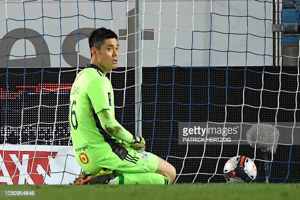 Strasbourg's Japanese goalkeeper Eiji Kawashima reacts following Brest's goal during the French L1 football match between Racing Club Strasbourg...