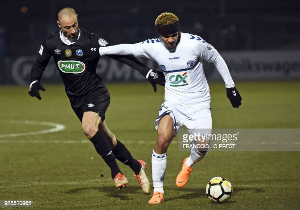 Strasbourg's Kenny Lala controls the ball during French Cup quarterfinal football match between Chambly and Strasbourg on February 28 at the Pierre...