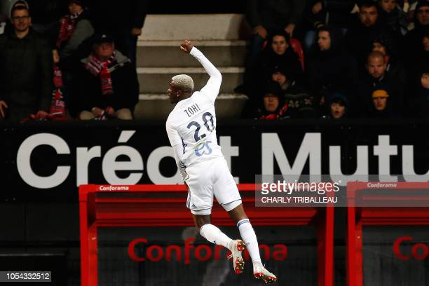 TOPSHOT Strasbourg's Malian forward Lucien Zohi celebrates after scoring a goal during the French L1 football match between Guingamp and Strasbourg...