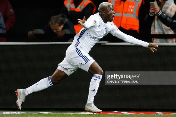 Strasbourg's Malian forward Lucien Zohi celebrates after scoring a goal during the French L1 football match between Guingamp and Strasbourg on...