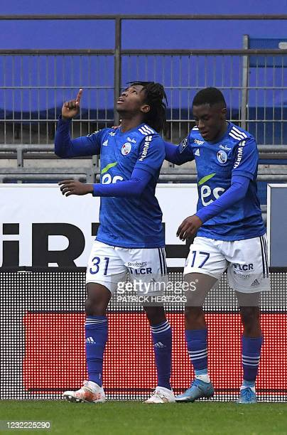 Strasbourg's Malian forward Moise Sahi celebrates his goal during the French L1 football match between Strasbourg and Paris-Saint Germain at The...