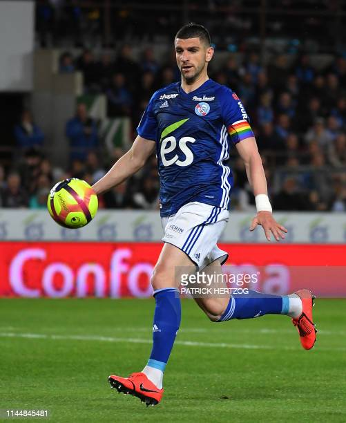 Strasbourg's Serbian defender Stefan Mitrovic controls the ball during the French L1 football match between Strasbourg and Rennes on May 18 2019 at...