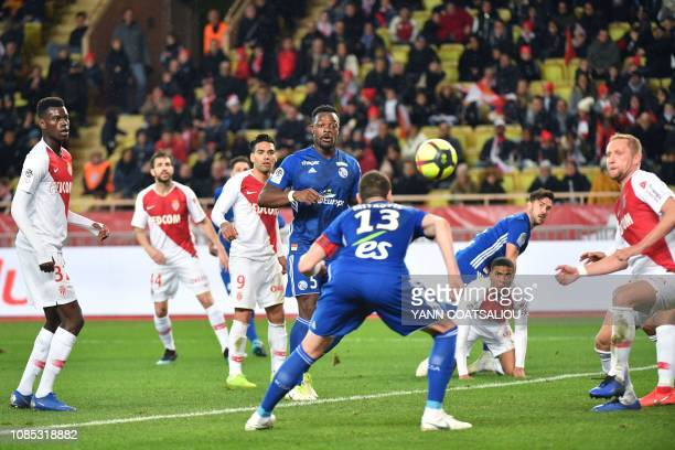 Strasbourg's Serbian defender Stefan Mitrovic heads the ball during the French L1 football match between Monaco and Strasbourg on January 19 at the...