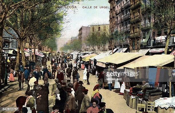 Strassenhändler in der Calle deUrgel Colorierte Postkarte ohne Jahr