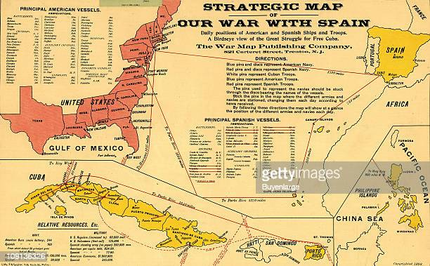 Strategic Map of the Spanish American War, from the American point of view, 1898. Published by the War Map Publishing Company.