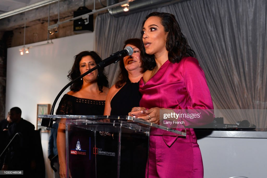 Strategies Angela Rye speaks at IMPACT Strategies and D&P Creative Strategies Tech & Media day party and brunch at Longview Gallery on September 14, 2018 in Washington, DC.