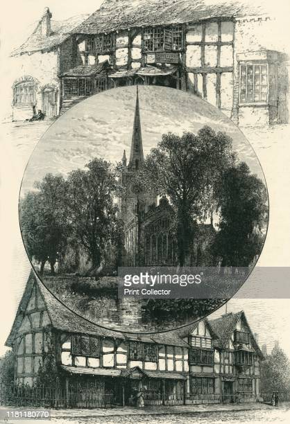 Stratford Church, and Shakespeare's House, As It Was and As It Is', circa 1870. Church of the Holy Trinity, Straford-upon-Avon and Shakespeare's...