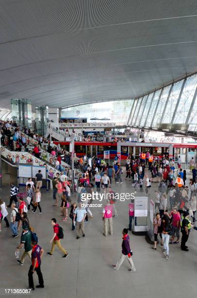 stratford railway station transport hub during london 2012 olympics - stratford london stock pictures, royalty-free photos & images