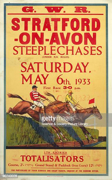 'StratfordonAvon Steeplechases' GWR poster 6 May 1933 Poster produced for the Great Western Railway showing horses jumping a fence during a...