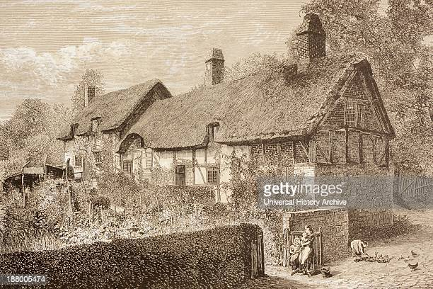 StratfordUponAvon England Anne Hathaway's Cottage Shakespeare's Wife's Family Home From The Illustrated Library Shakspeare Published London 1890
