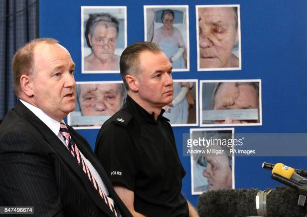 Strathclyde Police Detective Inspector John Lamb with Superintendant Andy McKay appealing for information during a press conference with Helen...