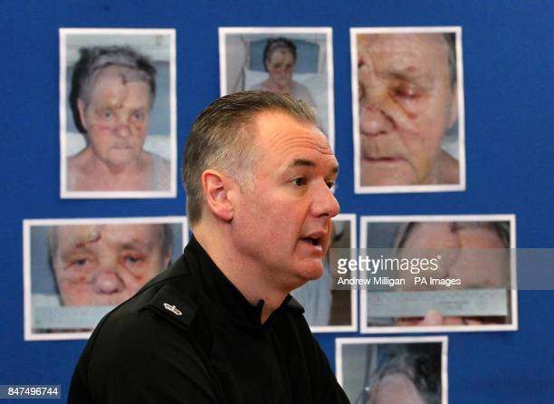 Strathclyde Police Superintendant Andy McKay appealing for information during a press conference with Helen Coulter daughter of Mary Coulter who was...