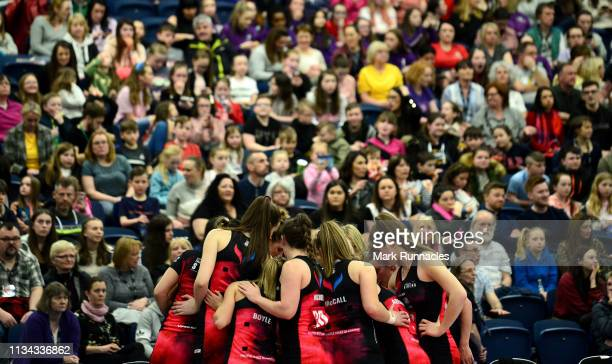 Strathclyde Sirens huddle at half time during the Vitality Netball Superleague match between Strathclyde Sirens and Manchester Thunder at Emirates...
