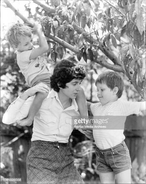 Strathfield Council Ald Helen L'Orange at her Strathfield homeAld L'Orange with her two sons Timothy 3 and Paul 5 in tree December 24 1974