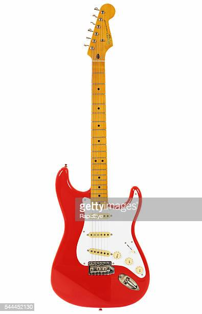 stratocaster from classic vibe series in fender's vintage fiesta red - electric guitar stock pictures, royalty-free photos & images