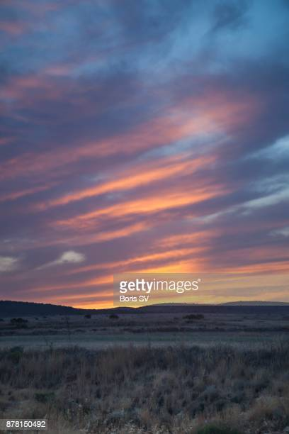 Stratocumulus Clouds over the desert, during sunset